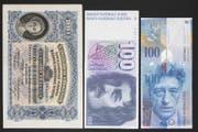 Das Design der 100er-Note durch die Jahrzehnte. Aber wie sieht wohl die aktuelle und neuste Version aus? Bild: Keystone