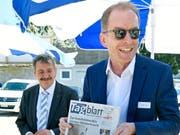 Der neue ETH-Ratspräsident Michael Hengartner, hier bei der Grundsteinlegung für das neue Studententwohnheim Rosengarten in Zürich 2018. (Bild: KEYSTONE/WALTER BIERI)