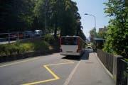 Die Bushaltestelle Berneggstrasse in St.Gallen. Hier rollte der Bus vergangenen Sommer ohne Fahrer die Strasse hinunter.