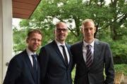 Die neue Bischofschaft von links): Didier Schluchter (Ratgeber), Henrik von Scheel (Bischof), Oliver Nedela (Ratgeber). (Bild: PD)