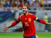 Sergio Ramos schoss die Spanier in Bukarest mit 1:0 in Führung (Bild: KEYSTONE/EPA/BOGDAN CRISTEL)