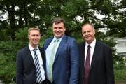 Die alte Bischofschaft der Mormonen (von links): Roland Roffler (Ratgeber), Fredy Gantner (Bischof), Thomas Koch (Ratgeber). (Bild: PD)