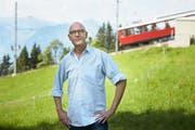 Petitionär René Stettler bei Rigi Kaltbad. (Bild: Jakob Ineichen, 18. Juli .2017)
