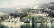 So sollte es dereinst aussehen: links im Bild das Park Hotel Vitznau. Am Hang daneben sollten mehrere Villen entstehen. (Bild: PD)