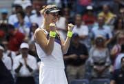 Belinda Bencic jubelt: Erstmals steht sie in einem Major-Halbfinal. (Bild: Keystone)