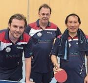 Das Baarer NLC-Team, von links: Wadim Hurlebaus, Rolf Nölkes, Ding Yi. (Bild PD)