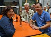 Die Vertreter des Gemeinderats am Anlass waren Gabriela Buscetto, Karl Brändle und Peter Moos (von links). (Bild: Peter Jenni)