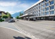 So wird es dereinst beim Kantonsbahnof Altdorf mit dem neuen Dienstleistungsgebäude der Urner Kantonalbank aussehen. (Visualisierung: PD)