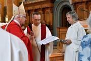 Unter den neu in den Dienst der katholischen Kirche Aufgenommenen befindet sich auch Petra Mühlhäuser aus St.Gallen (rechts im Bild). Sie arbeitet für die Seelsorgeeinheit St.Gallen-Ost. (Bild: Bistum SG/Regina Kühne - 8. September 2019)