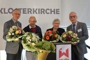 Drei Präsidenten, eine Präsidentin: Urs Pilgrim, Marco Hauser, Hanny Grob und Robert Häfner (von links) freuen sich mit vielen Gästen über den Erfolg der Stiftung Murikultur. (Bild: Eddy Schambron)