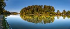 Der Herbst klopft am Gübsensee an die Tür des Sommers. (Leserbild: Luciano Pau - 12. Oktober 2018)