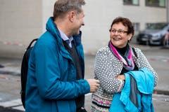 Marcel Schwerzmann, Regierungsrat Luzern und Hildegard Meier-Schöpfer, Kantonsratspräsidentin beim Armeeausbildungszentrum in Luzern.