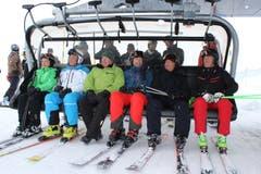 Bei der Eröffnung des neuen Sessellifts in der Skiarena Andermatt-Sedrun war sie ebenfalls dabei: Z'graggen (ganz links) an der Seite von Marc Girardelli, Peter Furger, Josef Dittli, Samih Sawiris und Bernhard Russi (von links). (Bild: Elias Bricker, 10. März 2018))