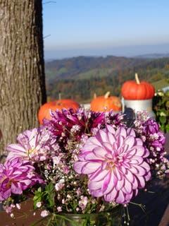 Herbstliche Dekoration bei der Brestenegg. (Heidi Bucher, 13. Oktober 2018))