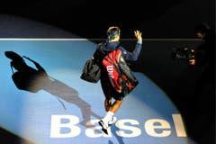 2011 - Roger Federer kommt zum Finalspiel gegen den Japaner Kei Nishikori, das er gewinnt. (KEYSTONE/Georgios Kefalas)