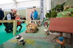 Stefan Probst mit Tochter Annika betrachten den Modell-Bauernhof am Stand des Zuger Bauernverbands. (Bild: Stefan Kaiser (Zug, 23.Oktober 2018))
