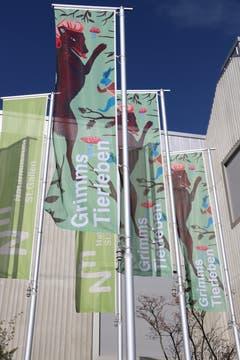 Werbebanner vor dem Naturmuseum machen auf die neue Ausstellung aufmerksam. (Bilder: Reto Voneschen)