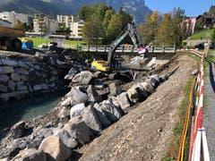 Hochwasserschutzprojekt Engelbergraa. Arbeiten am Blocksatz. (Bild: PD)