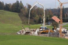 Betonieren der Reservoirkammer Gubermatt am 22. Oktober 2018. (Bild: PD)