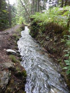 Anzére (Wallis): Mit den Suonen oder Bisses wurde im Wallis das Wasser über lange Strecken, zum Teil sehr exponiert, von den Bergen zum Bewässern ins Tal geführt. (Bild: Hans Scheidegger)