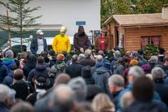 Vom Butziwagen wird der Älplerspruch verkündet. (Bild: Edi Ettlin (Buochs, 28. Oktober 2018))