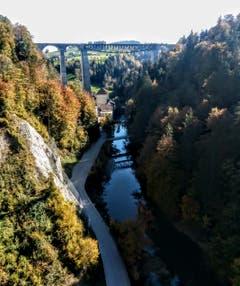 Das Wasserkraftwerk Kubel in St. Gallen von oben. (Bild: Marlise Lehmann)