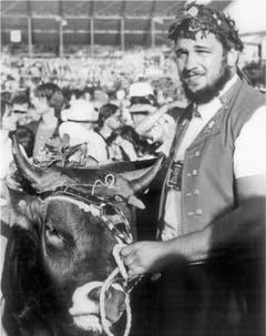 Ernst Schläpfer gewann den Königstitel 1980 in St.Gallen. (Bild: Jubiläumszeitschrift Nordostschweizer Schwingerverband)