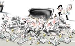 Sorgentelefon-Manager. St.Gallen erhält einen City Manager. Dieser soll sich um die Anliegen von allerlei Anspruchsgruppen in der Innenstadt kümmern. Standortförderin Isabel Schorer und Pro-City-Präsident Ralph Bleuer können sich also bald zurücklehnen und anstossen: In Zukunft nimmt jemand anders das Sorgentelefon ab. (Illustration: Corinne Bromundt - 6. Oktober 2018)