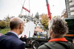 Die neue Kabine der Mühleggbahn wurde am Dienstagmorgen geliefert. (Bild: Mareycke Frehner)