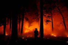 Ein Feuerwehrmann im Kampf gegen die Waldbrände. (Bild: John Locher, Maglia, 9. November 2018))