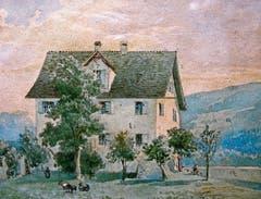 Das Grabser Pfarrhaus, Ansicht von Norden – ein Gemälde des Grabser Malers Traugott Schiess.