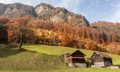 Farbiger Hintergrund für zwei kleine Häuser. (Bild: Erich Heiniger (Grafenort, 10. November 2018))