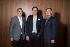 Stellvertretend für viele Firmen, die uns unterstützen: Markus Gämperle (Geschäftsführer Scherler, Baar), Thomas Meier (Geschäftsführer Lehner-Versand, Sursee) und Conrad Meier (Präsident Luzern Hotels). (Bild: Dominik Wunderli (Luzern, 13. November 2018))