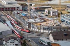 Baustelle des neuen Bahnhofs in Andermatt. (Bild: Boris Bürgisser)