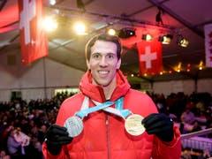 Ramon Zenhäusern - der Olympia-Zweite im Slalom ist nur einer der Schweizer Trümpfe im Slalom der Männer (Bild: KEYSTONE/JEAN-CHRISTOPHE BOTT)