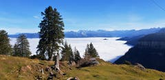 Noch liegt auf der Rigi kein Schnee, aber sie ist umringt von einem gewaltigem Nebelmeer. Blick in Richtung der Mythen. (Bild: Kurt Hägi, 15.11.2018)