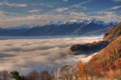 Das Rheintal unter einer Nebeldecke. (Bild: Toni Sieber)