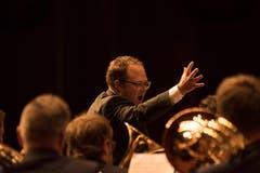 In der 1. Klasse ging die Brass Band Harmonie Neuenkirch an den Start. Dirigent Manuel Imhof in Aktion.