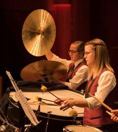 Die Rhythmusabteilung der Brass Band Harmonie Neuenkirch.