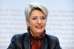Die nominierte FDP-Bundesratskandidatin Karin Keller-Sutter während einer Medienkonferenz, am Freitag, 16. November 2018 in Bern. (Peter Klaunzer/Keystone)