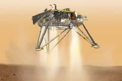 Kurz vor der Landung auf der Mars-Ebene «Elysium Planitia» wird die Raumsonde Bremsraketen zünden. (Illustration: PD/NASA/JPL)