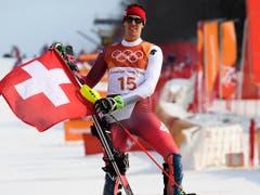 Mit dem Gewinn von Olympiasilber im Slalom verblüffte Ramon Zenhäusern im Februar alle. Nur zehn Tage danach schaffte es der Zweimetermann aus Visp in Kranjska Gora auch in einem Weltcup-Slalom erstmals aufs Podest. Dazu feierte er im Parallel-Slalom von Stockholm einen unerwarteten Sieg. (Bild: KEYSTONE/GIAN EHRENZELLER)