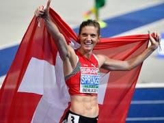 Am 10. August schrieb Hürdenläuferin Lea Sprunger Schweizer Leichtathletik-Geschichte. Mit dem Sieg in ihrer Kerndisziplin 400 m Hürden kürte sich die 28-jährige Waadtländerin in Berlin mit europäischer Saisonbestleistung zur ersten Europameisterin aus der Schweiz. (Bild: KEYSTONE/WALTER BIERI)