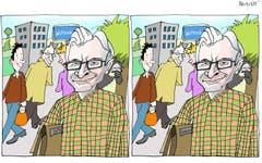Finde den Unterschied!Der neue Gemeindepräsident von Wittenbach hat einen Doppelgänger. Oliver Gröbles eineiiger Zwillingsbruder André sass bis vor kurzem in der Geschäftsprüfungskommission der Gemeinde. Inzwischen ist er zwar zurückgetreten, trotzdem hat der doppelte Gröble an der Bürgerversammlung Verwirrung gestiftet. (Illustration: Corinne Bromundt - 1. Dezember 2018)