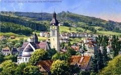 Der Südosten der Stadt St.Gallen um 1920. In der Bildmitte die 1914 bis 1917 erbaute Kirche St.Maria-Neudorf. Dahinter die Wohngebiete Neudorf und Hagenbuch.