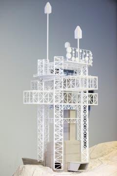 Das Modell des Richtstrahlturms auf dem Titlis. (Bild: Alexandra Wey / Keystone (Engelberg, 5. November 2018))