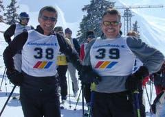 Sportlich aktiv: Albert Müller 2003 beim Parlamentarierskirennen, rechts von ihm Hanspeter Rohner. (Bild: Rosmarie Berlinger)