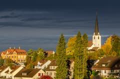 Der Wittenbacher Dorfhügel erstrahlt im Morgenlicht. (Bild: Stefan Truffer)