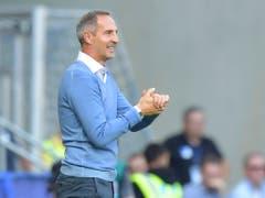 Adi Hütter ist gut gelaunt - kein Wunder nach dem 4. Sieg im 4. Spiel der Europa League (Bild: KEYSTONE/AP dpa/UWE ANSPACH)