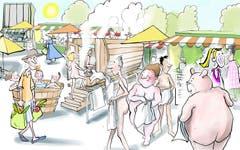 Freiluftsauna auf dem Markplatz. Trotz Höhenlage spürt auch St.Gallen den Urban-Heating-Effekt. Besonders betroffen ist die Innenstadt. Dort speichern Beton und Asphalt die Sommerhitze. Für die Stadt bietet sich so unverhofft eine hübsche Gelegenheit, den Marktplatz schon vor der Neugestaltung zu beleben: mit einer Freiluftsauna. (Illustration: Corinne Bromundt - 10. November 2018)